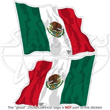 MEXIQUE Drapeau Flottant MEXICAIN 75mm Autocollants x2
