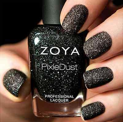 Zoya PixieDust Zp656 Dahlia Black Matte Sparkle Nail Polish Lacquer ...