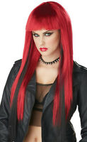 Dark Red With Black Chopstix Anime Adult Long Straight Costume Wig With Bangs
