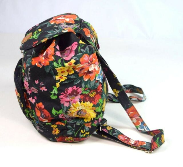 Vtg 90s Floral Print Retro Drawstring Backpack Shoulder Bag Purse Satchel Womens