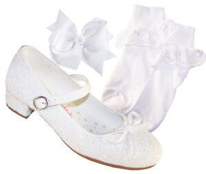 Niñas Tacón Brillante Dama Blanco Zapatos Sagrada Comunión Honor Con De Infantil Detalles hQxBsdCtr