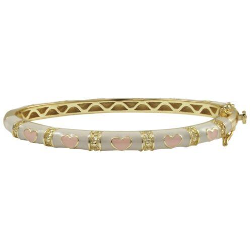 Details about  /Gold Finish White and Pink Enamel Heart Bangle Bracelet 50mm