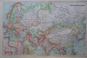 1919-MAP-TRANS-SIBERIAN-RAILWAY-ASIA-MONGOLIA-CHINA-TURKISTAN-AFGHANISTAN-EUROPE