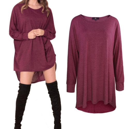 Women/'s Baggy lungo Batwing Top Oversize Lungo abbigliamento casual di marca Taglie 8-28