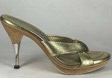 Fab! VTG 50s Gold Polly Of California Wood Platform Heels Metal Heel 6.5 7 M