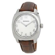 Movado Circa White Dial Brown Leather Mens Watch 606587