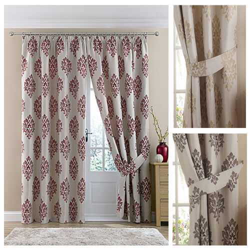 gold and wine Danielle Jacquard Pencil Pleat Lined Curtains Natural// Chocolate