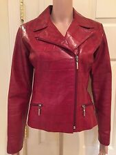 "Neto Women's Red "" leather like-animal print"" Zippered Jacket -Size S"