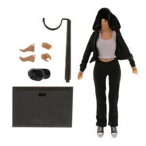 1-6-Weibliche-Action-Figur-Koerper-in-Schwarze-Jacke-Hose-Kleidung-Set