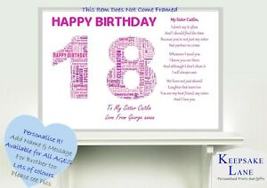 Image Is Loading Personalised 16th 18th 13 11th Teenage Special Sister