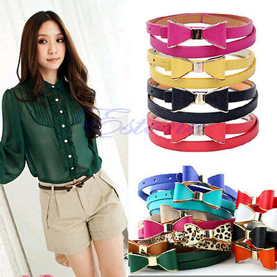 Fashion Women's Lady PU Leather Thin Narrow Bowknot Waist Belt Waistband Strap