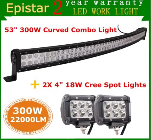 """53/"""" 300W Curved LED Light Bar Offroad Jeep Ford 2X 4inch 18W CREE Spot Lights"""