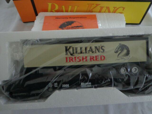 RAIL KING BY MTH O  027 KILLIAN'S  RED FLAT CAR W/TRAILER