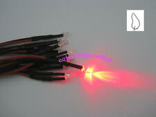 20 X 3mm Red Flicker 9v 12v Dc Pre Wired Water Clear Led Leds Candle Light 20cm