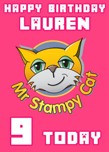 Details about Stampy Cat Minecraft Pink Personalised Birthday Card Add your  own name & age
