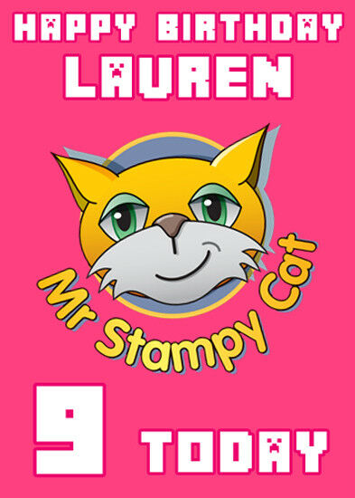 Stampy Cat Minecraft Pink Personalised Birthday Card Add Your Own