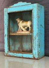 ANTIQUE / VINTAGE, INDIAN TEAK DISPLAY / BATHROOM CABINET. ART DECO, TURQUOISE.