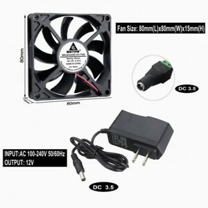 12V-2pin-80mm-80x15mm-8015s-Brushless-DC-Cooling-Exhaust-Case-Fan-With-Adapter