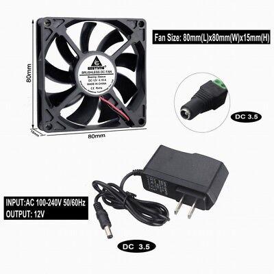 2pcs DC 12V 2Pin 8cm 80mm 80x80x15mm 80x15mm Brushless Cooling Case Fan 8015S