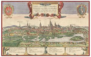 Lublin-Vistula-River-Poland-bird-039-s-eye-view-map-Braun-Hogenberg-ca-1617