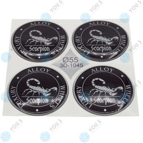 s tapacubos pegatinas de silicona 55,0 mm-negro plata Scorpion Emblem 4 x you