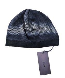 65a37d19d0bdc Image is loading NWT-Prada-Wool-Blend-Herringbone-Beanie-Hat-Italy-