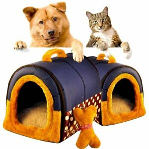 2 In 1 Pet House Portable Sofa Non Slip Dog Cat Igloo Beds Warm Mat Gifts Ebay