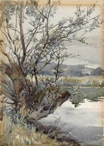 RIVER & TREES IN LANDSCAPE - Watercolour Painting - 20TH CENTURY