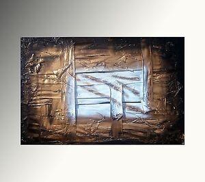 QUADRO ASTRATTO MODERNO Arredo 120X80 CM oro dipinto a mano opera ...