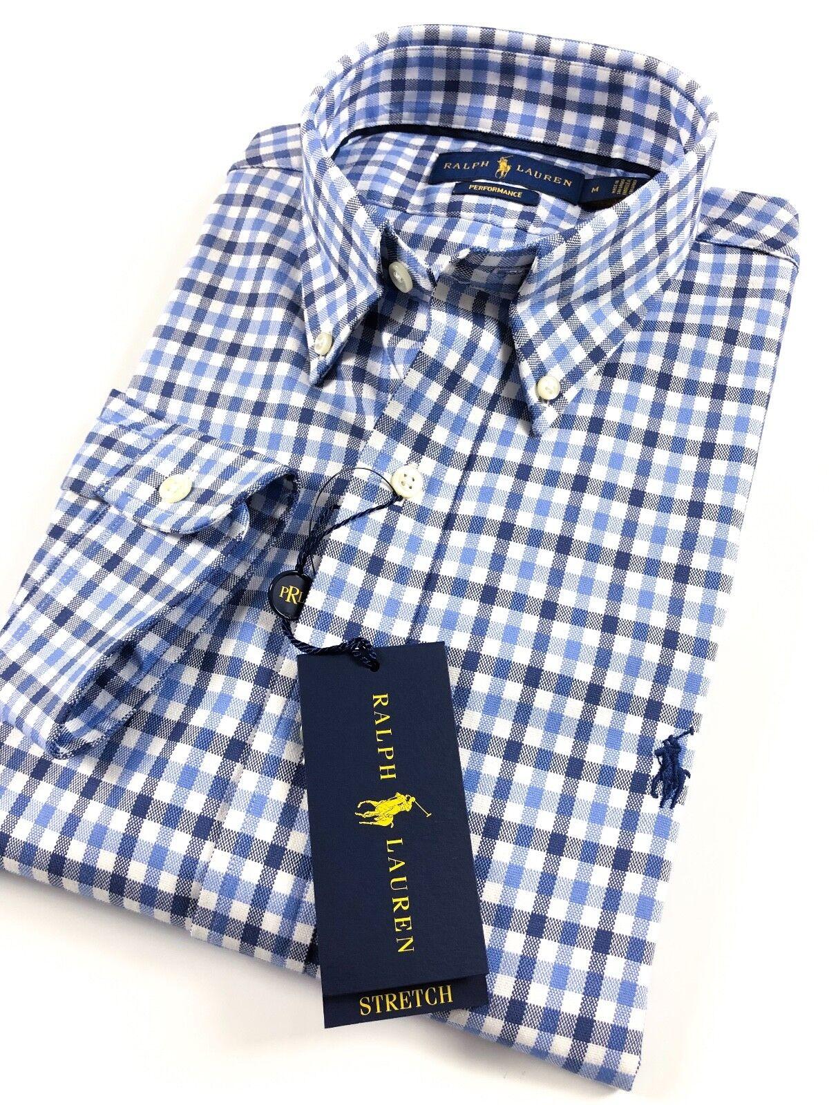 Ralph Lauren Shirt Men's Performance Oxford bluee Gingham Standard Fit RRP