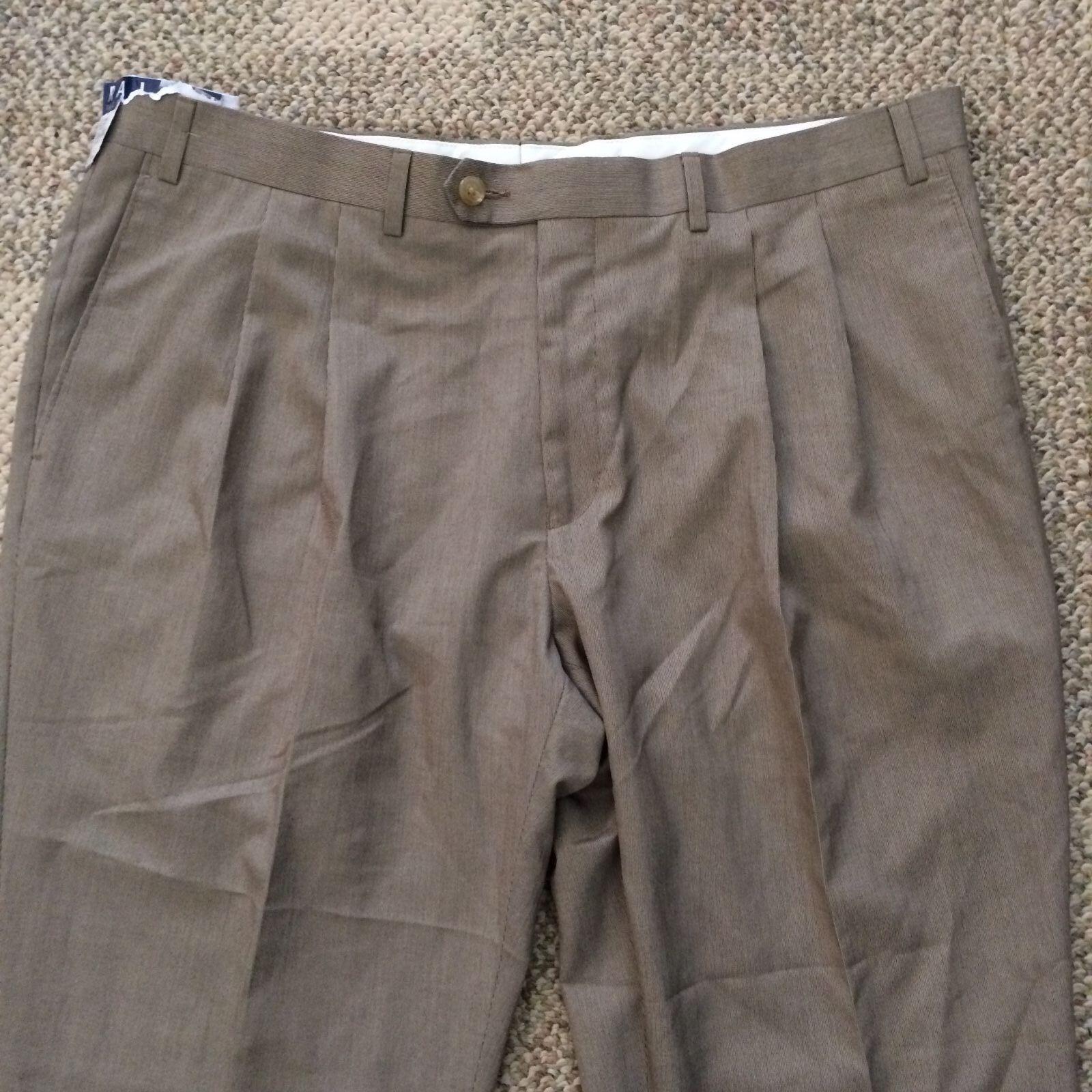 Size 38 X 30 Ralph Lauren Mens Men's Pleated Cuffed Dress Pants Brown Modern Fit