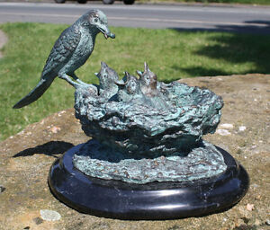 bronzeskulptur vogelnest mit marmorsockel dekoration f r haus und garten ebay. Black Bedroom Furniture Sets. Home Design Ideas