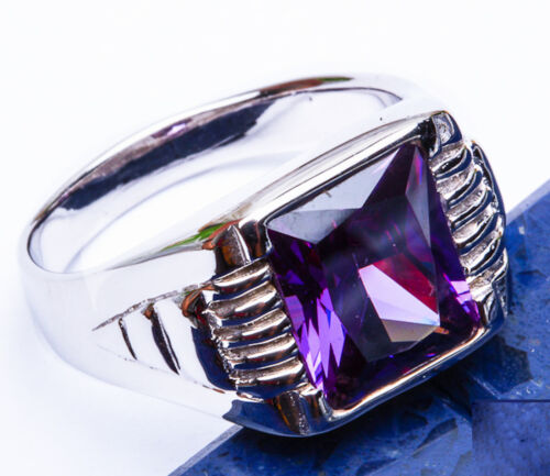 FREE SHIP! MEN'S Faceted Amethyst .925 Sterling Silver Ring Size 9-13