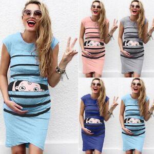 Women-Mom-Maternity-Pregnancy-Summer-Casual-Cartoon-Stripe-Vest-Sleeveless-Dress