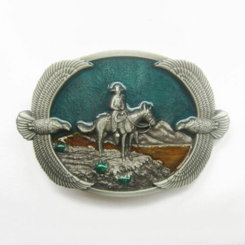 Western Cowboy on Horse Eagles Metal Belt Buckle