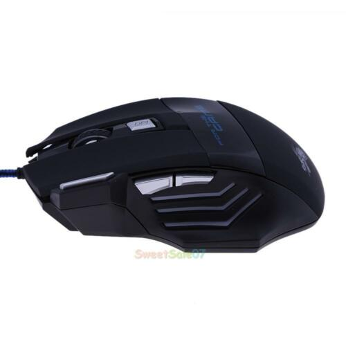 7 Color Backlight 5500DPI Optical USB Wired Gaming Mouse 7 Buttons Computer Mice
