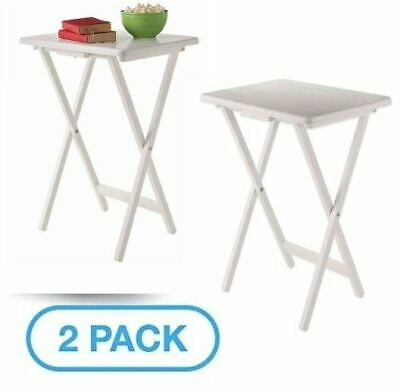 White Solid Wood Folding Tv Tray Tables