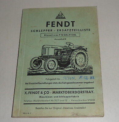 Motors F12 Hl 4/1955 Warm And Windproof Parts Catalog/spare Parts List Tractor Fendt Dieselross F12 Gh