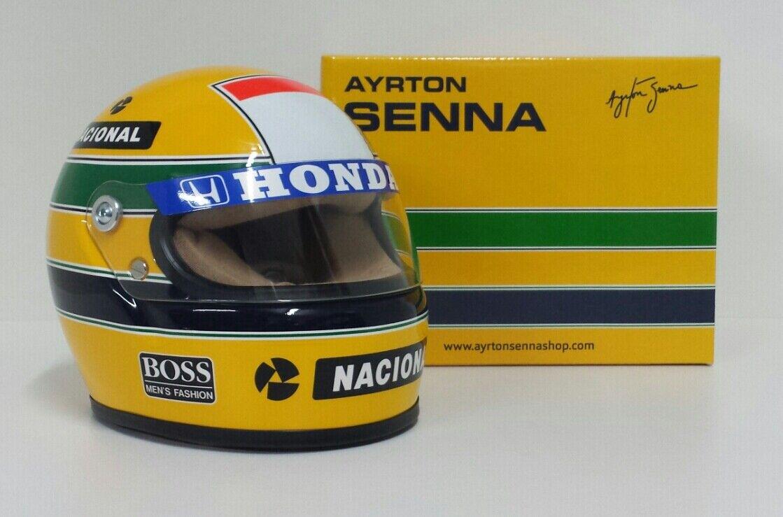 AYRTON SENNA MODELLINO MINIATURA CASCO HELMET 1 2 F1 WORLD CHAMPION 1988 DIECAST
