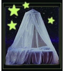 Image is loading Glow-in-the-Dark-Stars-Canopy-Princess-Sheer- & Glow-in-the-Dark Stars Canopy Princess Sheer Curtain Drape White ...