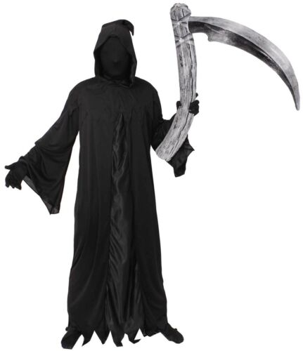 DAY OF THE DEAD REAPER COSTUME WITH MASK SCYTHE GLOVES HALLOWEEN FANCY DRESS