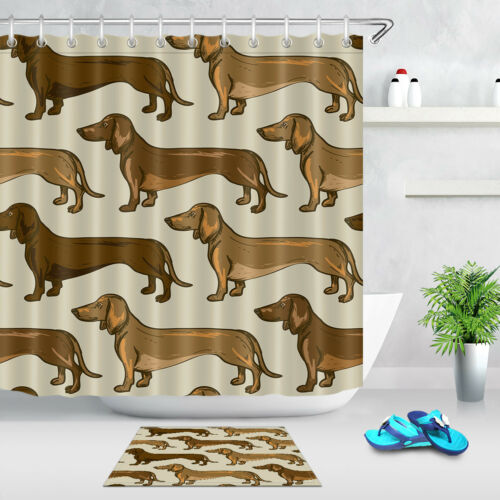 """Shower Curtain Liner Polyester Waterproof Fabric 72/"""" Beige Brown Dachshund Dogs"""