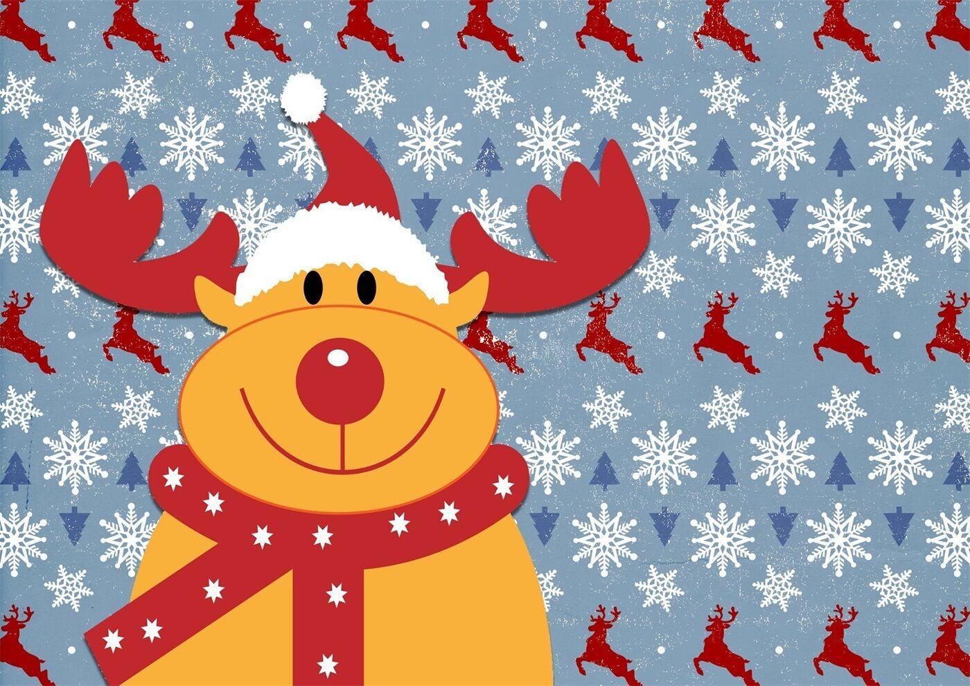 3D Deer Christmas cute Wall Paper Print Decal Wall Deco Wall Indoor Murals