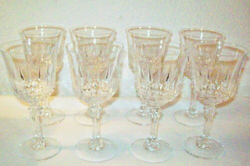 SET 8-PRETTY CRYSTAL WINE/WATER STEMED GLASSES NICE CRYSTAL RING