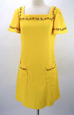 Vintage 60s Yellow Floral Rick-Rack Trim 2 Pocket Boho Hippie Mini Dress L