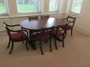 Old Charm Large Oval Oak Extending Dining Table Set With 6 Chairs Ebay