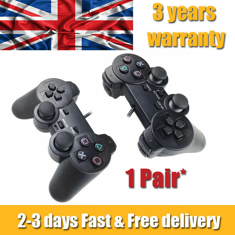 2Pcs For PlayStation 2 PS2 Black Wired Game Controller Gamepad Joypad UK STOCK*
