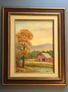 Original-Oil-Painting-signed-W-Netchy-American-Autumn-Farm-Barn-Scene-Vintage