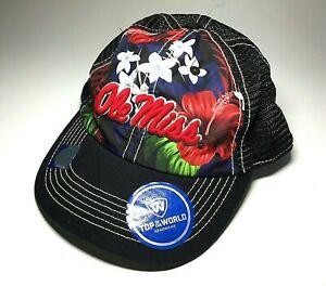 Ole Miss Rebels Hat University of Mississippi NCAA Black Mesh Cap Hawaii Flowers