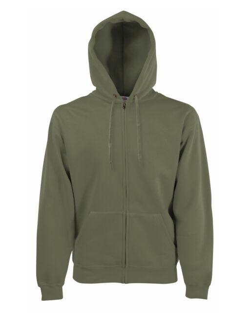 Fruit of the loom men/'s classic hooded sweat Jacket full zip plain Adult Hoodie